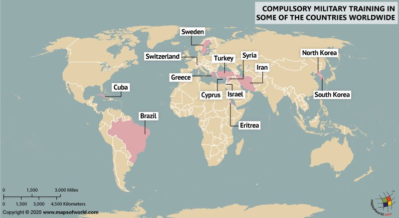 World Map Showing Countries in Which Military Training is Compulsory