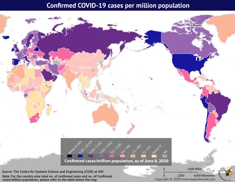 Map Highlighting the Spread of Coronavirus Around the World as per June 08, 2020