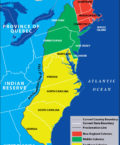 Map Highlighting 13 Original Colonies of the United States
