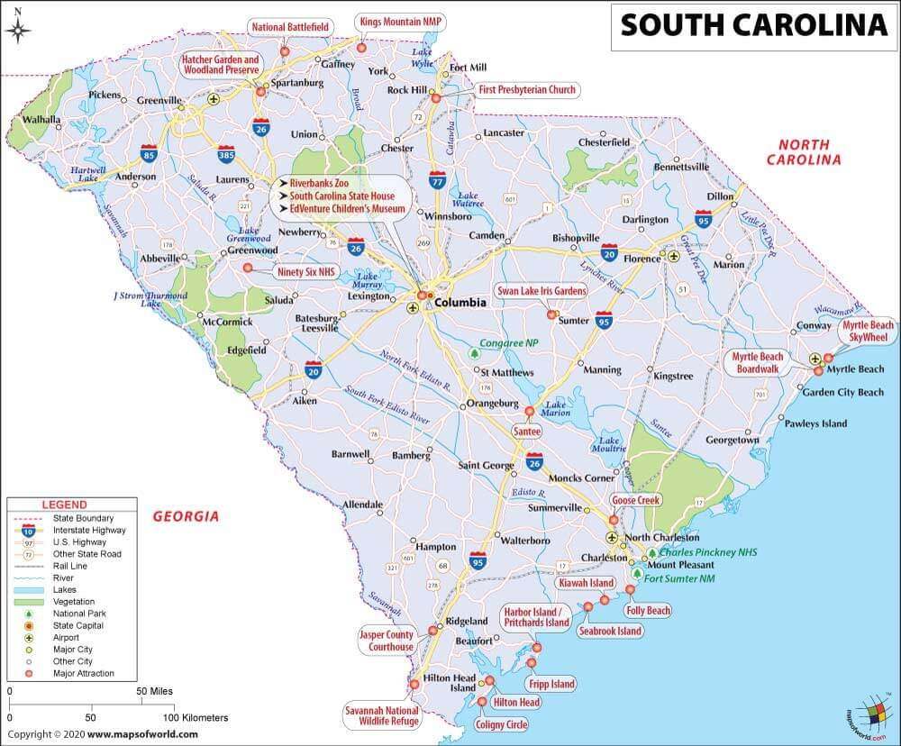 Map of South Carolina