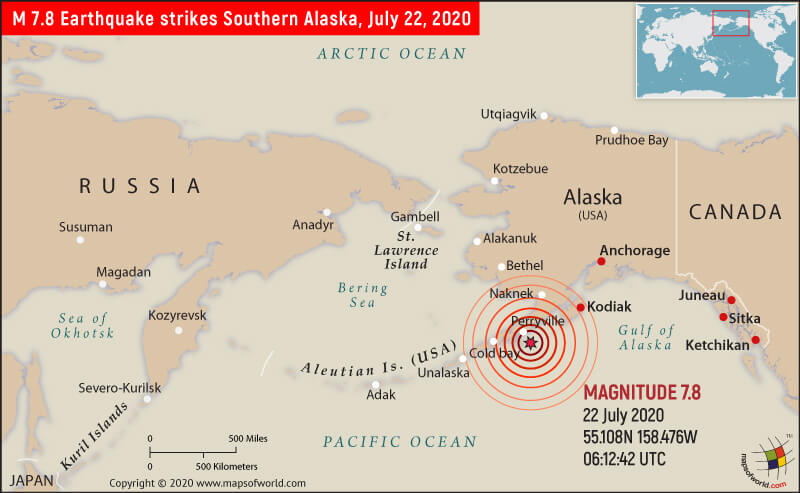 Map Showing Location of the Earthquake that Strikes Southern Alaska on July 22, 2020