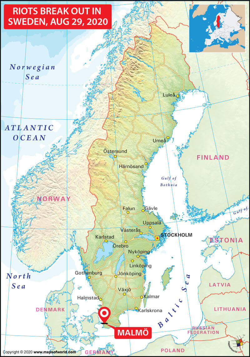 Map Showing Location of Malmo in Sweden