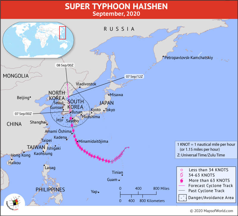 Map Depicting Location of Typhoon Haishen as on Sep. 07, 2020