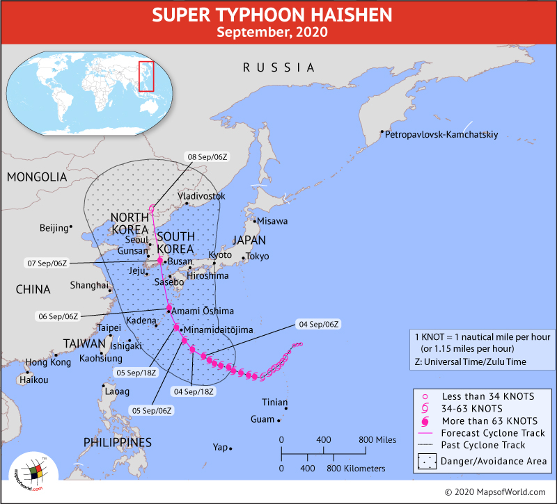 Map Depicting Location of Typhoon Haishen