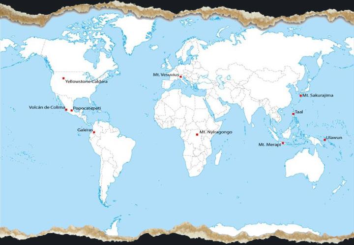 Volcano world map around the world volcano world map gumiabroncs Choice Image