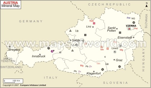 Austria Mineral Map Natural Resources of Austria