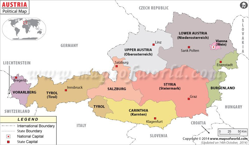 Political Map Of Austria Austria States Map - Political map of austria