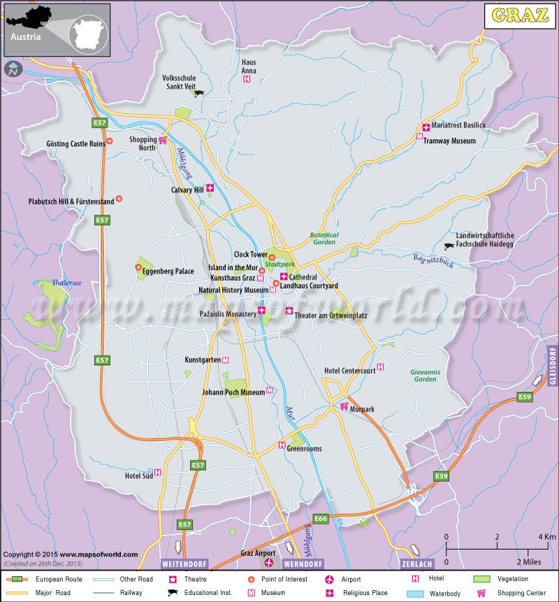 Map Of Graz City Austria - Graz austria map
