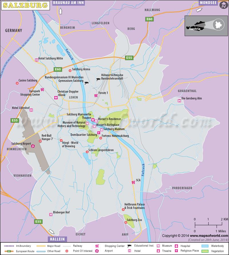 Salzburg City Map Austria
