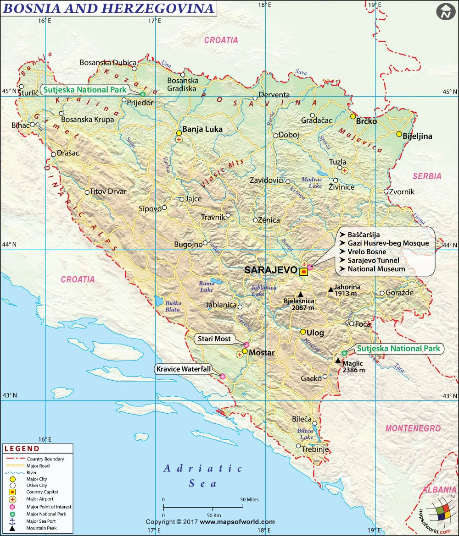 Bosnia Herzegovina Map