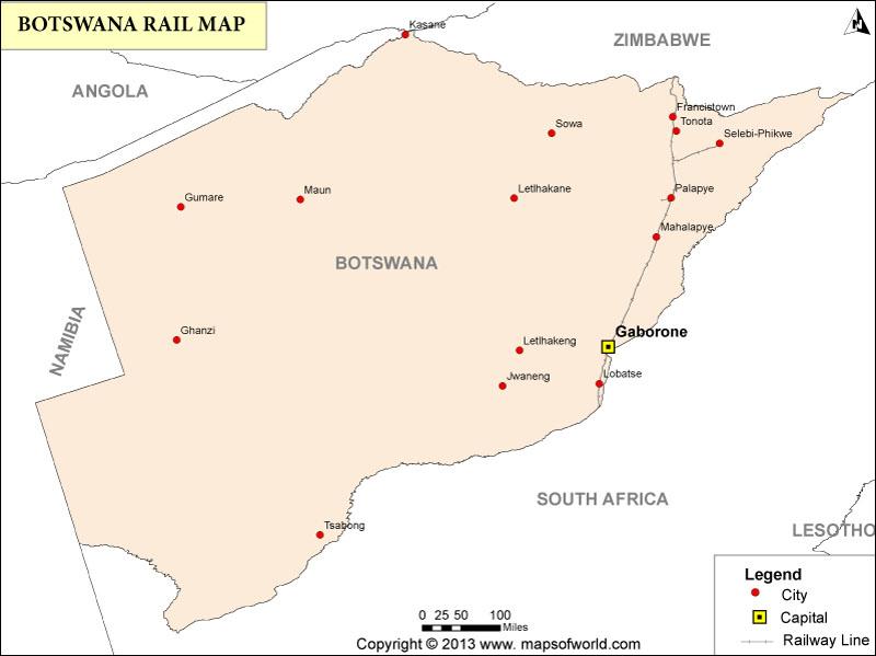Botswana Rail Map