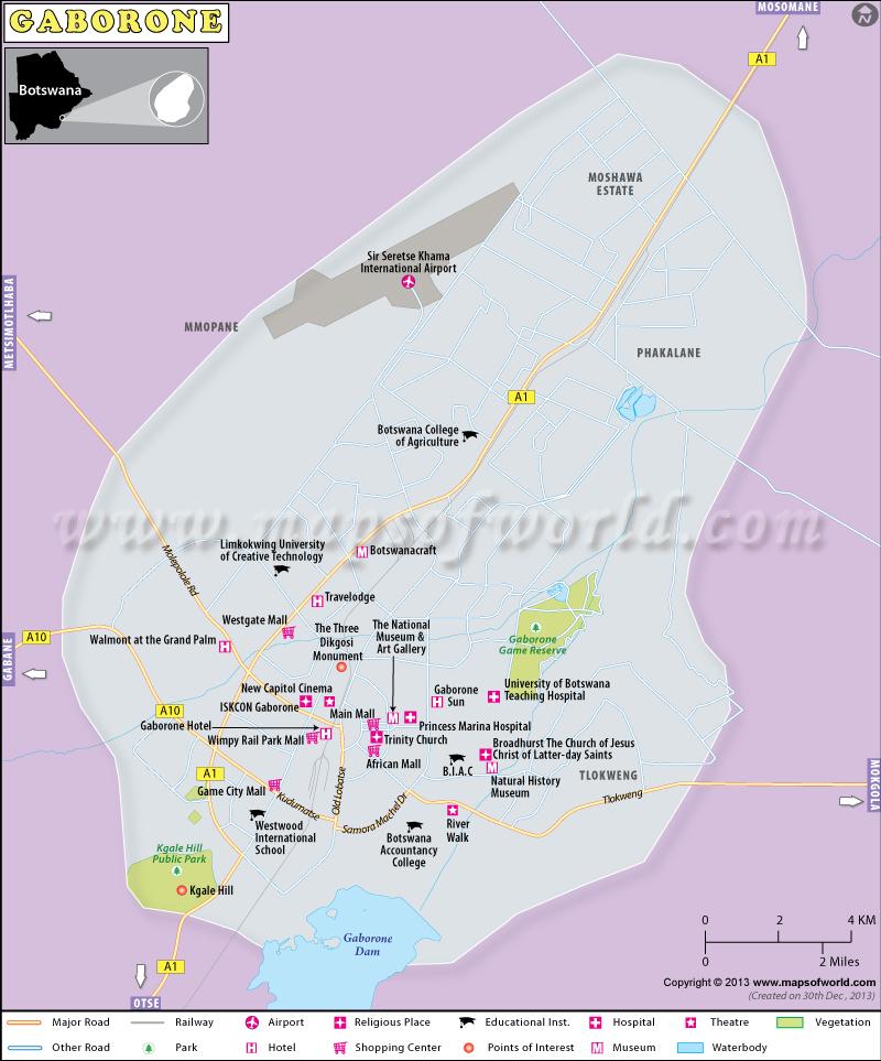 Gaborone Map Map of Gaborone City Botswana