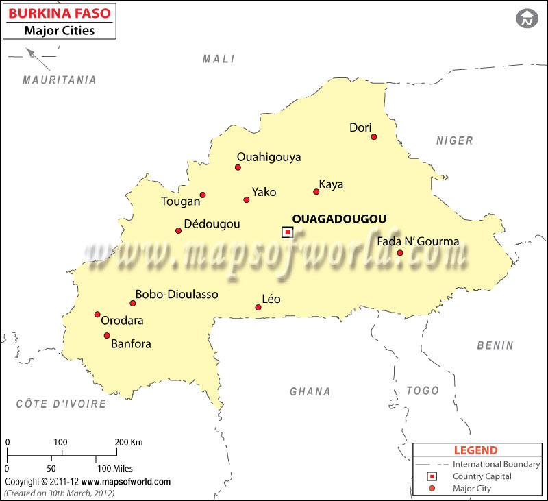 Burkina Faso Cities Map