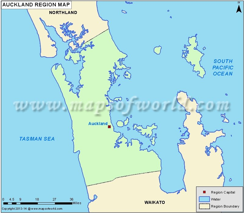 Auckland Region Map, New Zealand