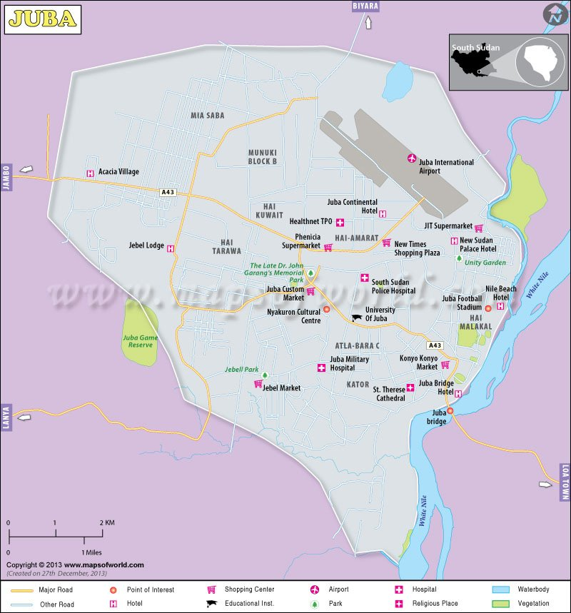 Map Of Juba City, South Sudan