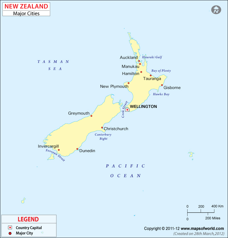 Cities in New Zealand Map