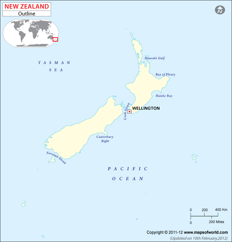 Outline Blank Map of New Zealand