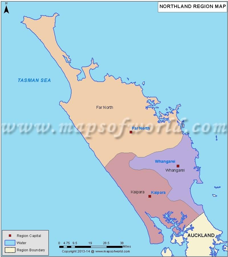 Map of Northland Region, New Zealand