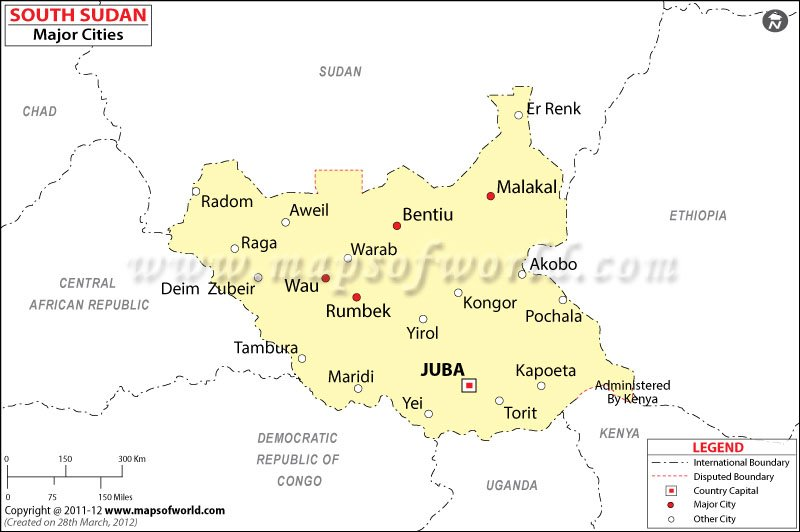 South Sudan Cities Map