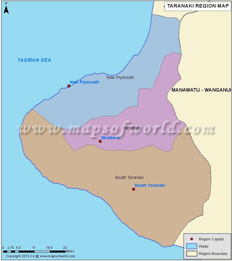 Map of Taranaki Region, New Zealand