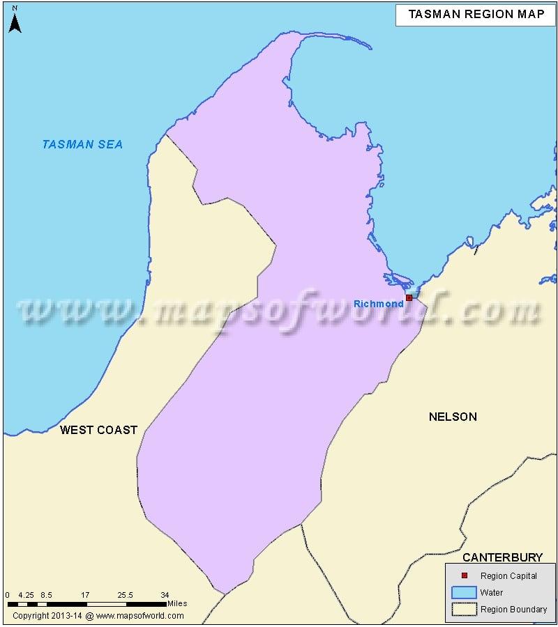 Map of Tasman Region, New Zealand
