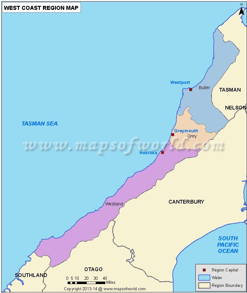 Map of West Coast Region, New Zealand