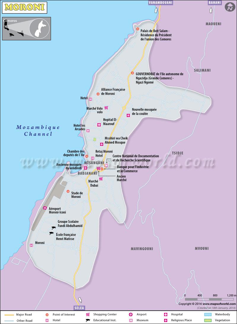 Moroni Map Capital Of Comoros - Comoros map