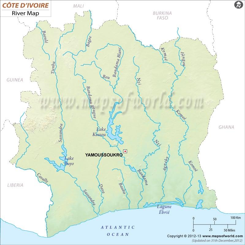 Cote d\'Ivoire (Ivory Coast) River Map