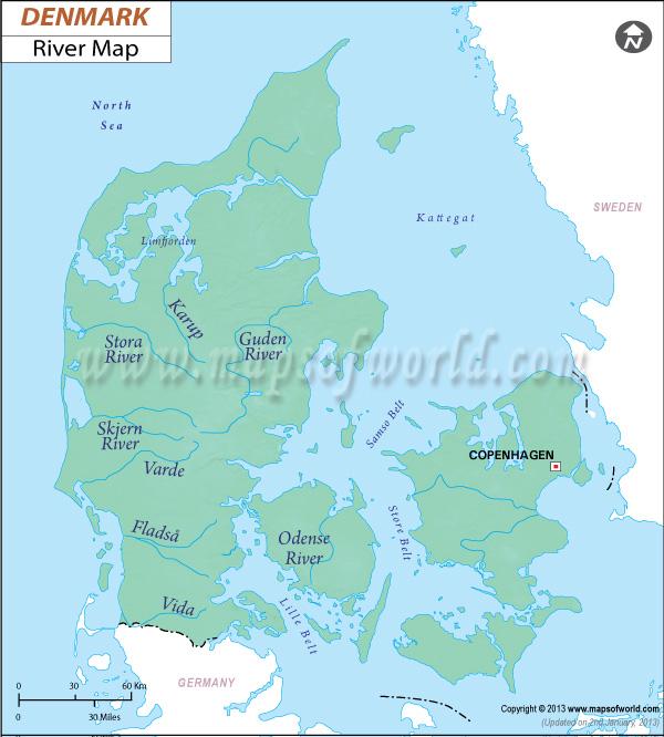 River Map of Denmark Denmark River Map Denmark Detailed Map – Germany Denmark Map