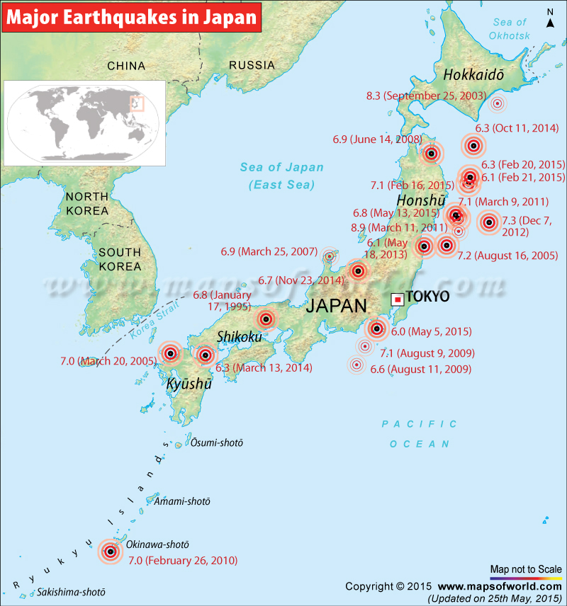 earthquakes in japan Japan has many earthquakes, in fact there are about 1500 of these every year the most recent big earthquake was in 2011 - called '2011 tohoku earthquake.