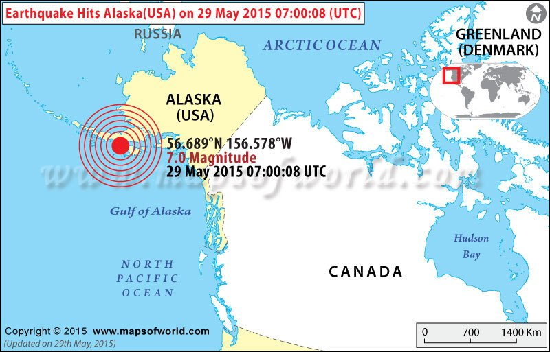 Earthquakes In USA Areas Affected By Earthquakes In USA - Alaska usa map