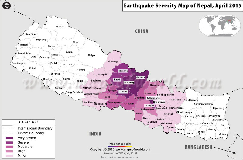 District-wise severity of earthquakes in Nepal
