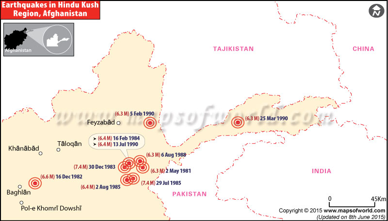 Earthquakes in Afghanistan from 1975 to 1990