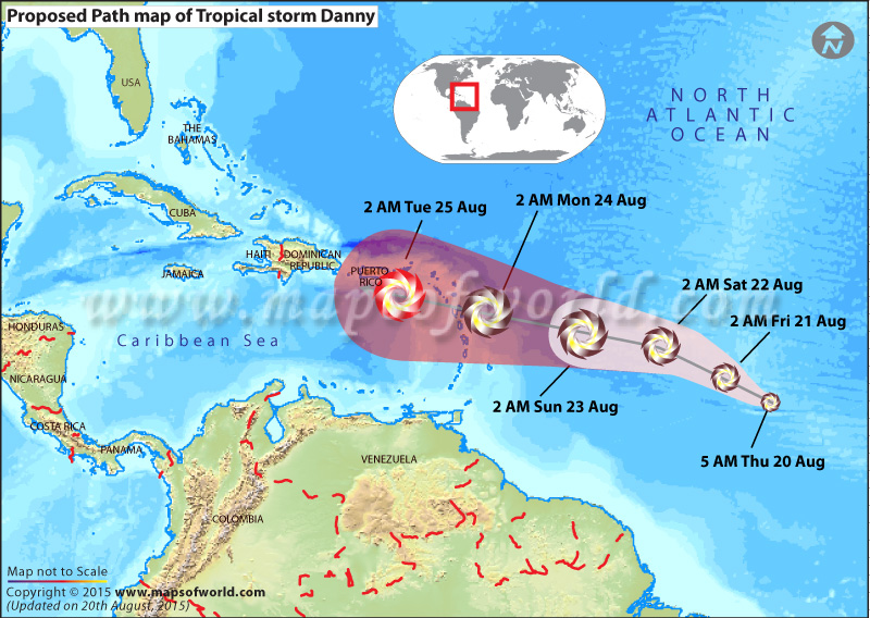 Path map of hurricane Danny