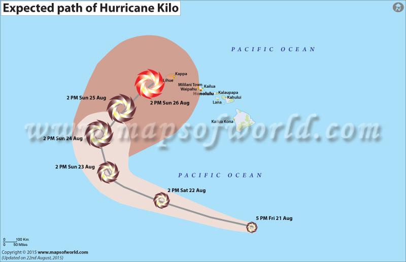 Path map of Tropical storm Kilo