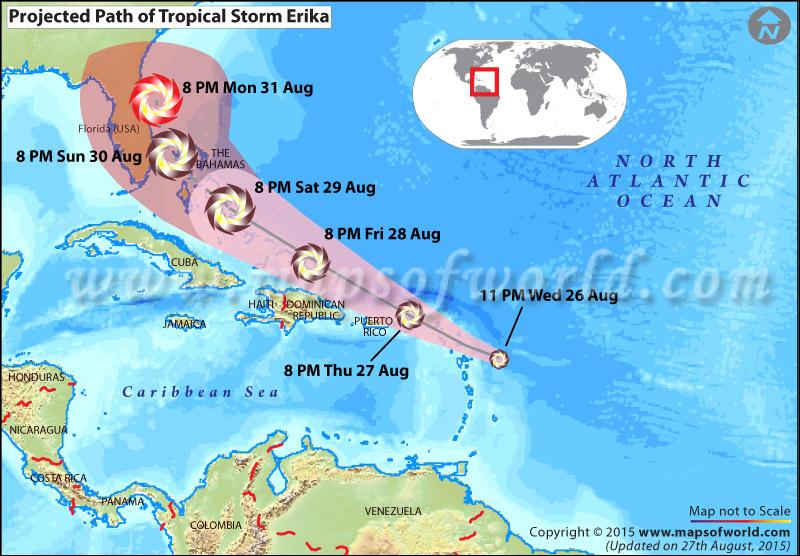 Path map of Tropical storm Erika