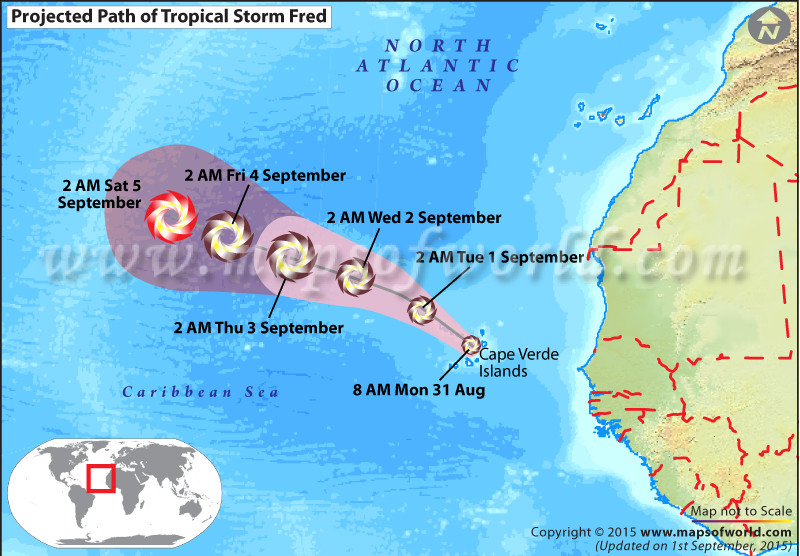 Path map of Tropical storm Fred