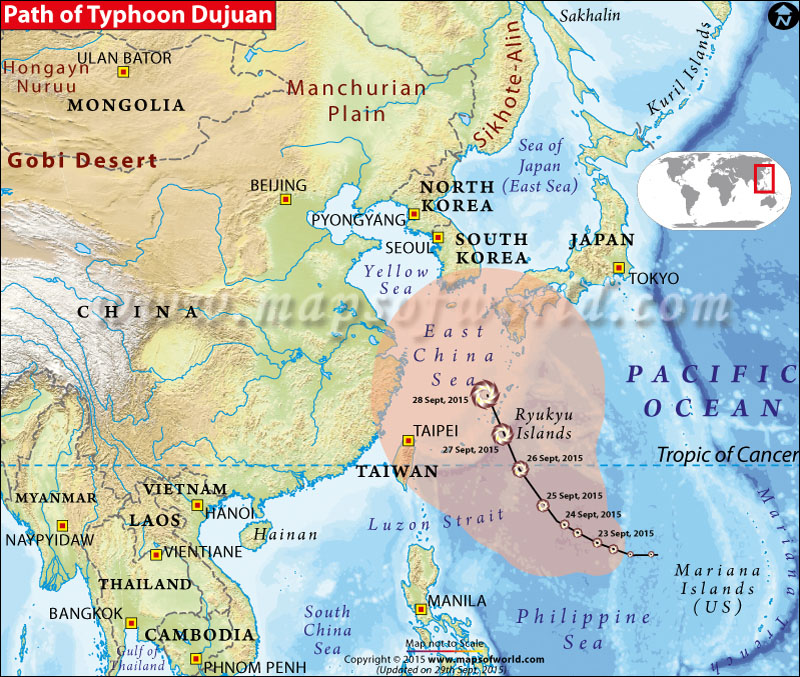 Path map of Typhoon Dujuan