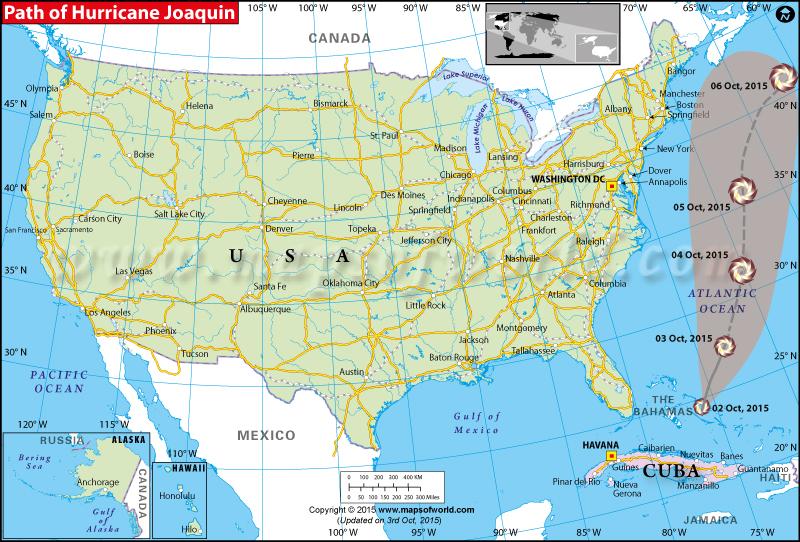 Path Map of Hurricane Joaquin
