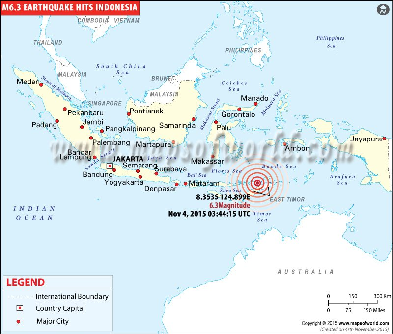 Indonesia earthquakes map areas affected by earthquakes in indonesia map showing the epicenter of m63 earthquake hits indonesia on nov 04 2015 gumiabroncs