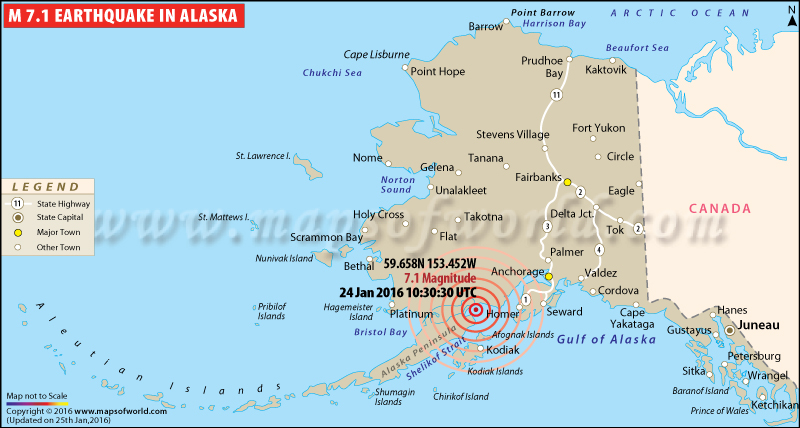 Areas Affected by M7.1 Earthquake in Southern Alaska