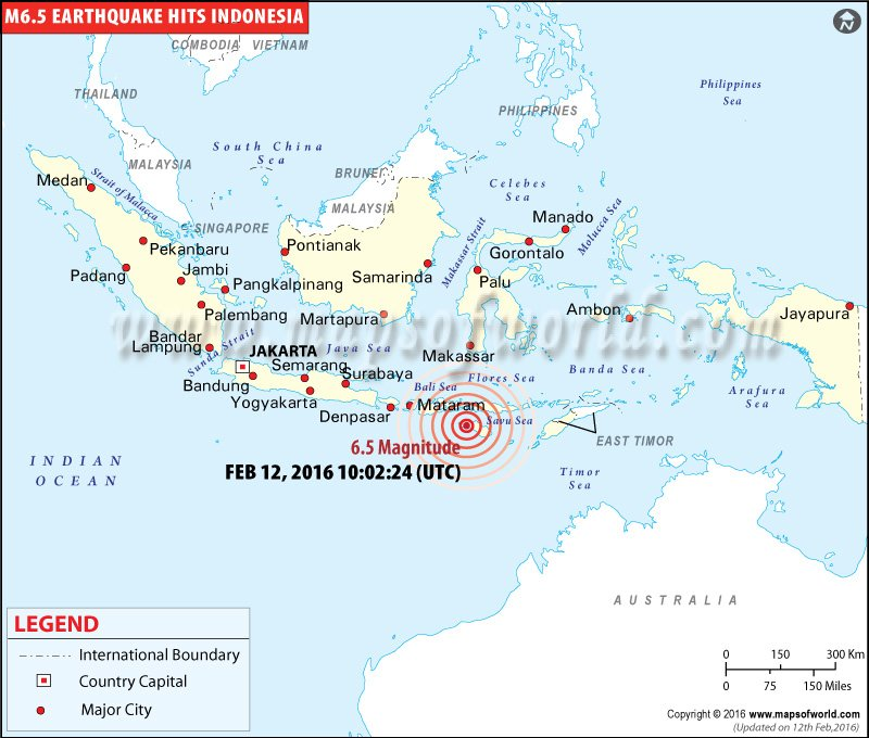 Indonesia earthquakes map areas affected by earthquakes in indonesia m65 earthquake in andekantor indonesia gumiabroncs Gallery
