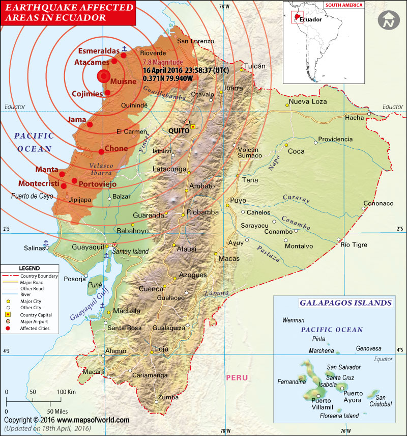 Ecuador Earthquake Map Areas Affected By Earthquake In Ecuador - Us earthquake map