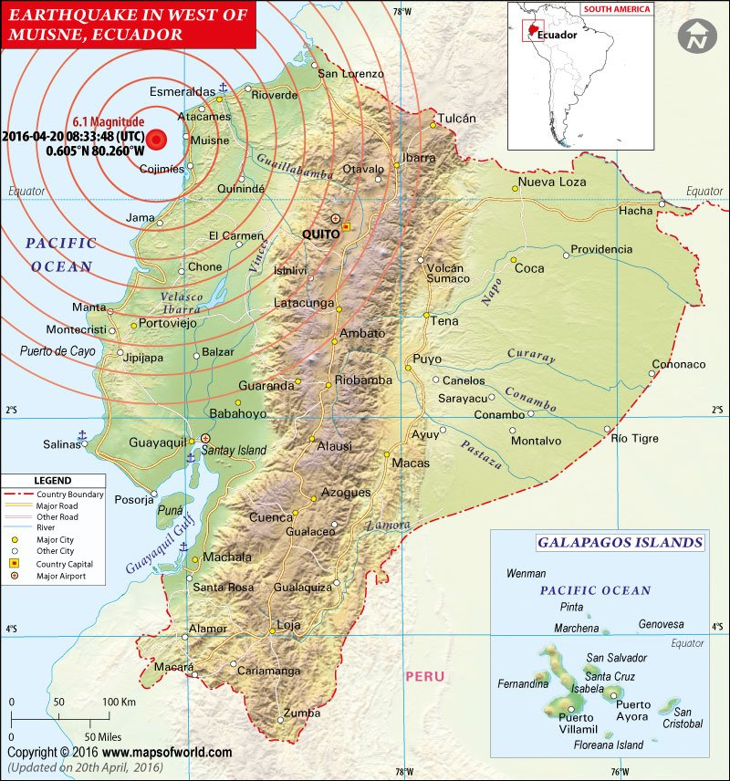 Ecuador Earthquake Map Areas Affected By Earthquake In Ecuador - Map ecuador
