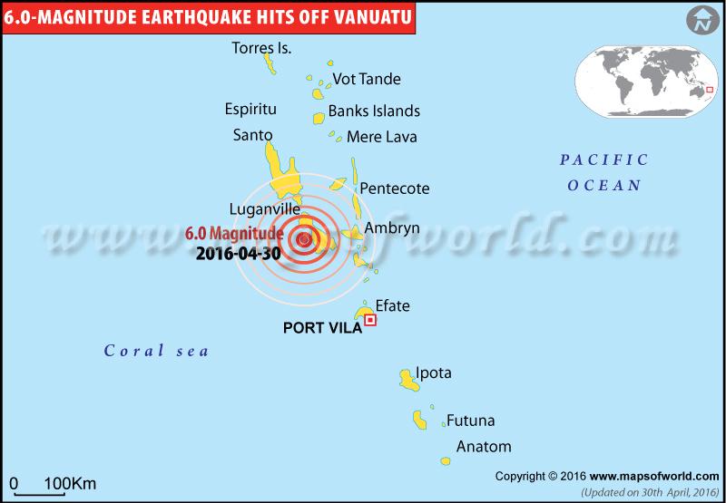 Magnitude-6.0 earthquake hits Vanuatu