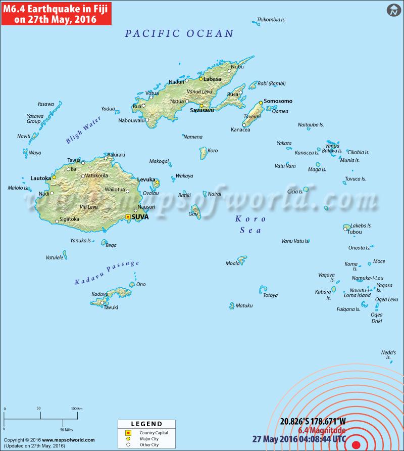 M6.4 Earthquake hits Fiji