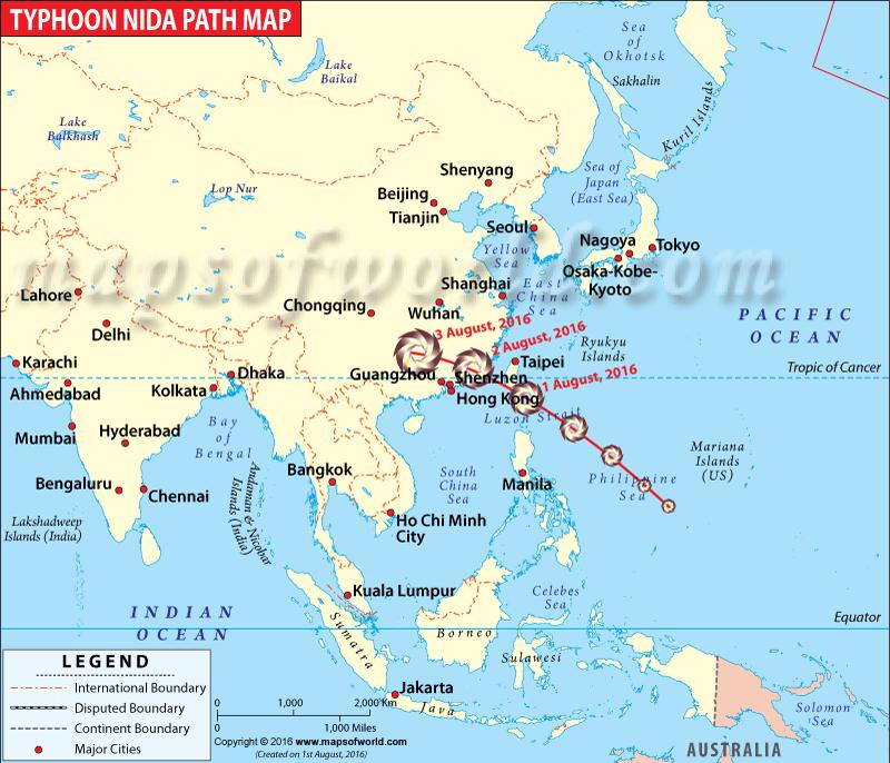 Path of Typhoon Nida