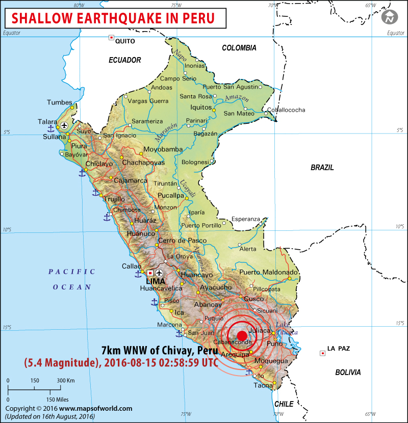 Peru Earthquake Map | Areas affected by Earthquakes in Peru