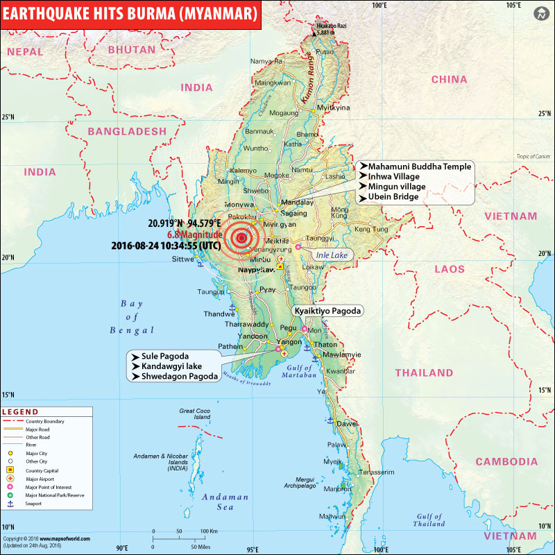 M6.8 Myanmar Earthquake Map