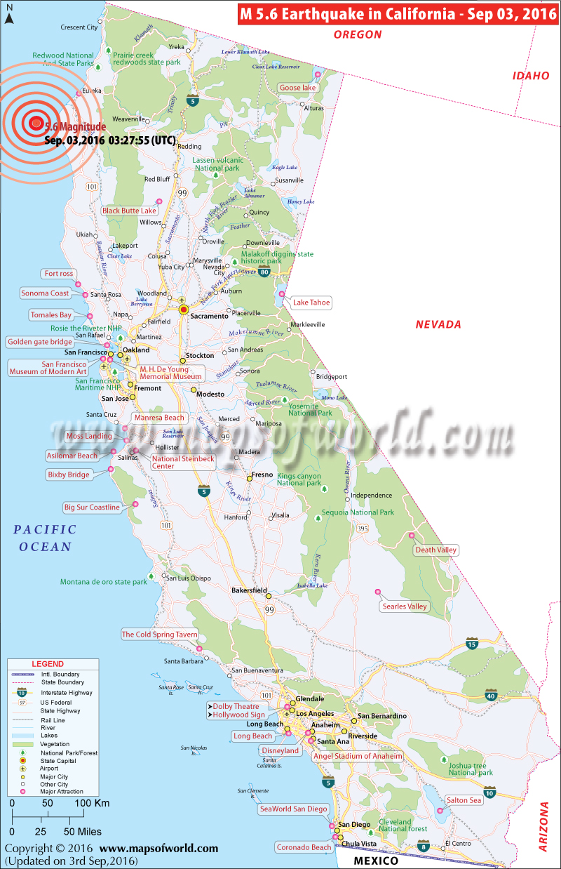California Earthquake Map Area Affected By Earthquake In California - Washington dc earthquake map